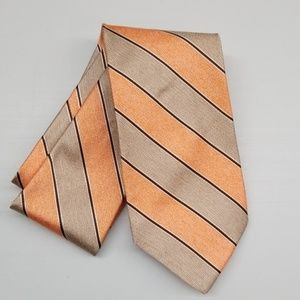 Jos A Bank Italian Lt. Orange Tan Silk Stripe Tie